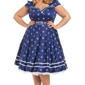 Voodoo Vixen Joni UK-XL Blue Nautical Swing Dress